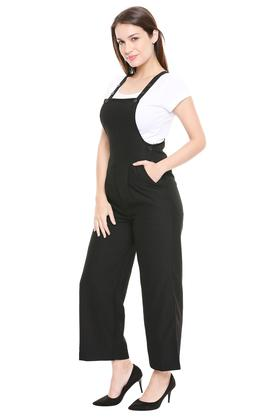Womens 3 Pocket Solid Dungarees