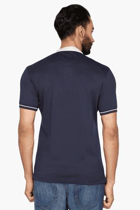Mens Short Sleeves Mao Collar Slim Fit Solid T-Shirt