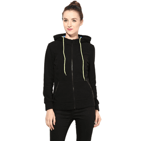 THE VANCA Women Polar Fleece Jacket In Black Color