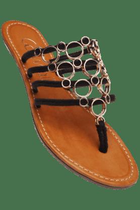 CATWALKWomens Black Slipon Flat Sandal