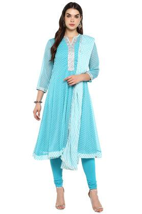 Womens Notched Neck Churidar Suit