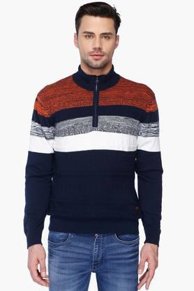 IZOD Mens Regular Fit High Neck Stripe Sweater