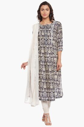 Women's Cotton Silk Embroidered Churidar Suit