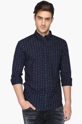 Mufti Formal Shirts (Men's) - Mens Cutaway Collar Printed Shirt