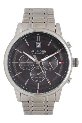Mens Black Dial Metallic Chronograph Watch - TH1791632