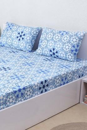 HOUSE THIS The Wily Kaleidoscope 100% Cotton King Bedsheet & 2 Pillow Covers - Blue  ...