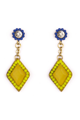 TRIBAL ZONE Golden Kite Shaped Earrings With Yellow And White Stones And Blue And Fluorescent Yellow Beads