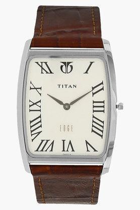 TITANMens White Dial Leather Strap Watch