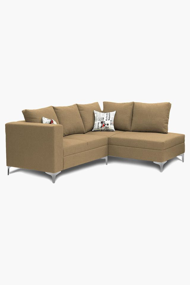 Dark Ivory Water Repellent Fabric Sofa (2 Seater - 1 Lounger)