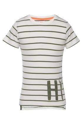 Boys Round Neck Striped Tee