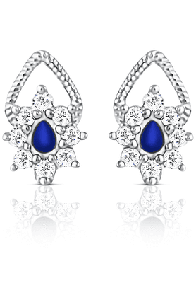 MAHI 92.5 Sterling Silver Daffodil Swarovski Zirconia Blue Earrings From Elysia Collection By Mahi ER3191006SBlu