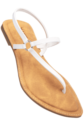 LIFE Womens White Tan Slipon Flat Sandal
