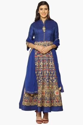 Womens Mandarin Neck Embroidered Semi Stitched Suit