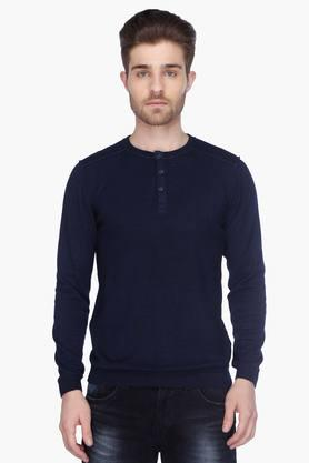LEVISMens Full Sleeves Henley Neck Solid Sweater