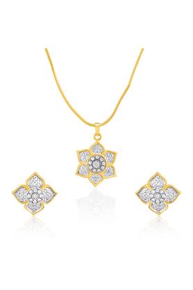 MAHIMahi Gold Plated Rose Enchantress Pendant Set With Crystals For Women NL1101778G