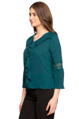 Womens Ruffled Collar Solid Top