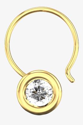 VELVETCASEWomens 18 Karat Yellow Gold Nose Ring (Free Diamond Pendant) - 201065044