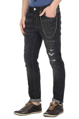 Mens 5 Pocket Mild Wash Distressed Jeans with Wallet Chain