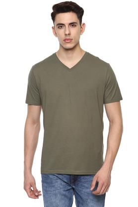 Mens Straight Fit V Neck Slub T-Shirt