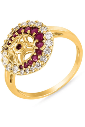 MAHIMahi Gold Plated Tantalizing Ring With Ruby And CZ Stones For Women FR1100318G