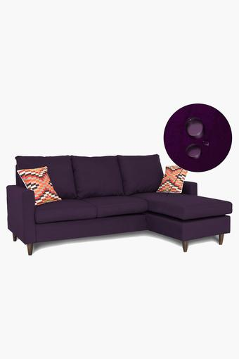 Dark Purple Water Repellent Fabric Sofa (2 Seater - 1 Lounger)