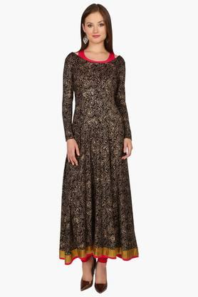 IRA SOLEILWomens Printed Anarkali Kurta With Inner (Buy Any Ira Soleil Product And Get A Necklace Free)