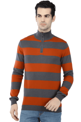CELIO Mens Full Sleeves Mao Collar Slim Fit Stripe Sweatshirt - 200299034