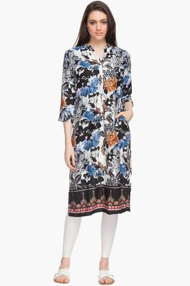 HAUTE CURRY Womens Mandarin Neck Printed Kurta - 201706985