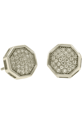 REAL EFFECT Sterling Silver Studded Earrings