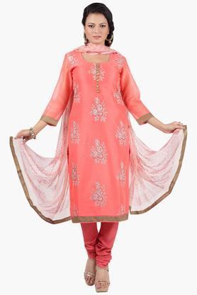 JASHNWomen Floral Embroidered Churidaar Kameez Dupatta