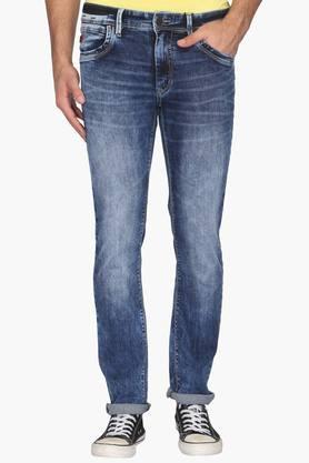 WROGN Mens Slim Fit 5 Pocket Stone Wash Jeans  ...