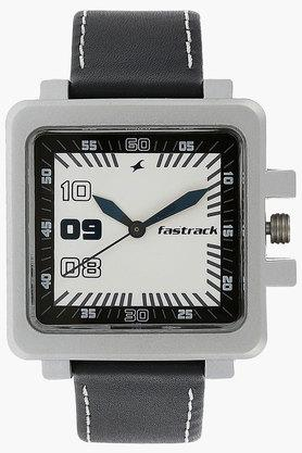 FASTRACKMens White Dial Leather Strap Watch