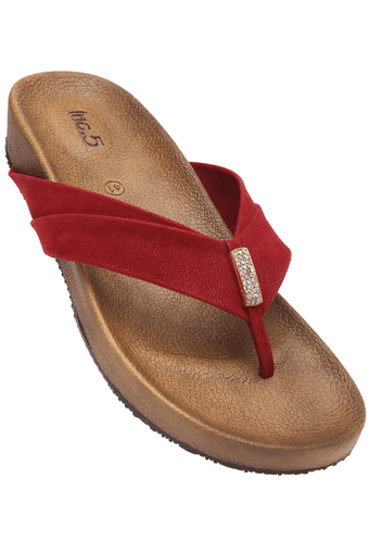 Womens Maroon Slipon Flat Sandal