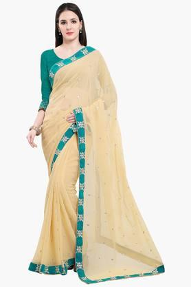 Women Faux Georgette With Lace Embroidered Saree