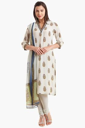BIBAWomens V Neck Printed Churidar Suit