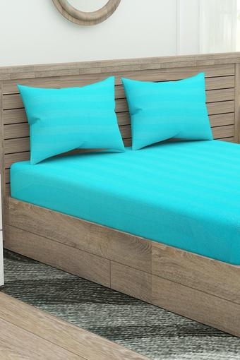 Self Printed King Fitted Bed Sheet with Pillow Cover