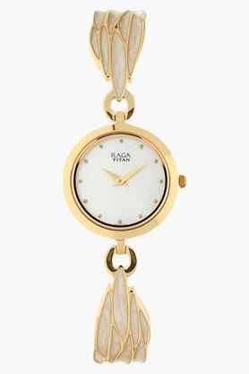 TITANWomens White Dial Stainless Steel Strap Watch