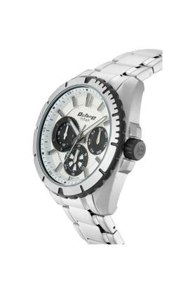 Mens White Dial Stainless Steel Multi-Function Watch - 90109KM01