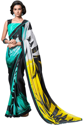 DEMARCA De Marca Multicolor Satin::Georgette Designer DF-585A Saree