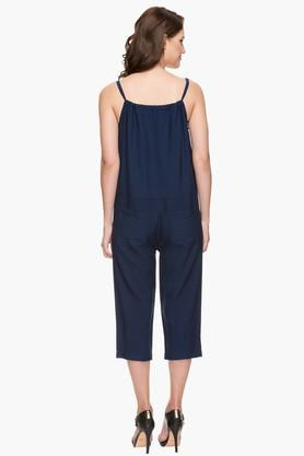 Womens Spaghetti Neck Double Pocket Solid Jumpsuit