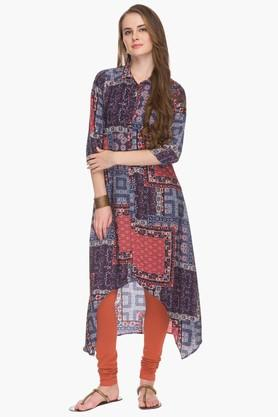 HAUTE CURRY Womens Collared High Low Printed Kurta