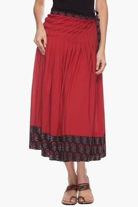 BOHEMYAN BLUE Womens Solid Flared Skirt