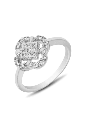 MAHI Mahi Rhodium Plated Elegant Flower  Fingering With CZ For Women FR1100108R