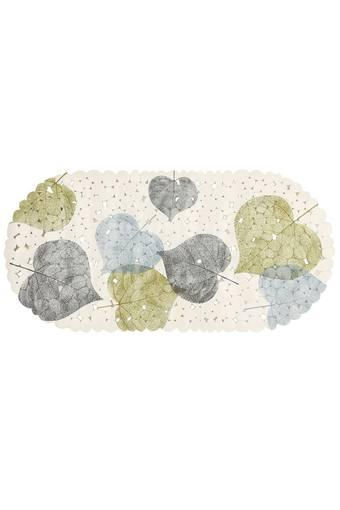Oval Floral Leaves Printed Shower Mat