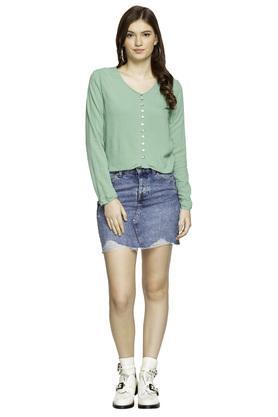 Womens 5 Pocket Washed Mini Skirt