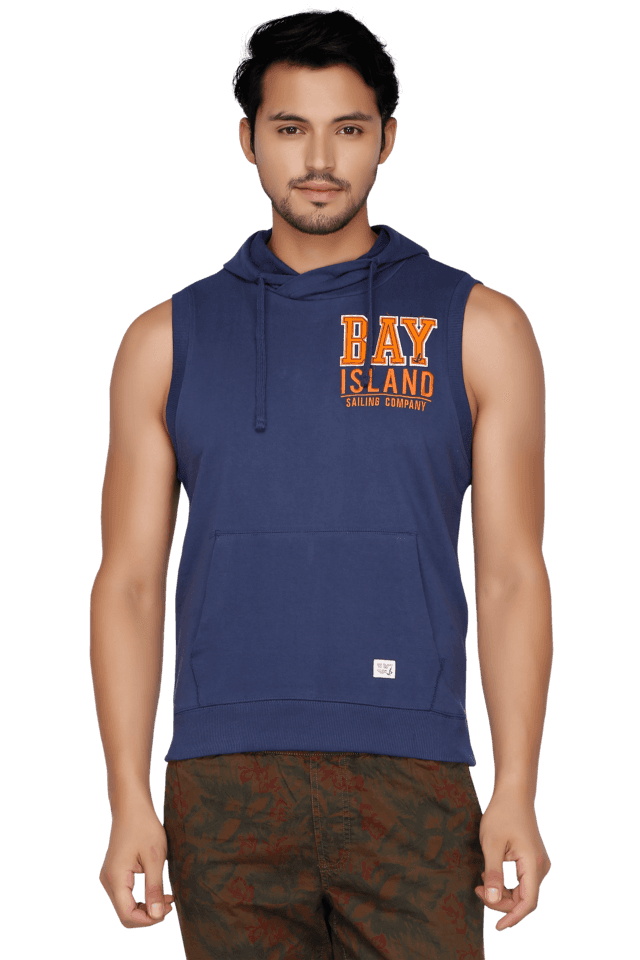 Mens Sleeves Hooded Neck Slim Fit Printed Sweatshirt