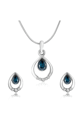 MAHI Rhodium Plated Pretty Blue Drop Pendant Set Made With Swarovski Elements For Women NL1104124RBlu