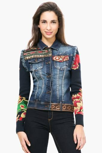 Womens Collared Embroidered Jacket