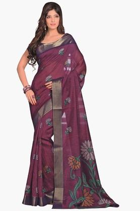 DEMARCA Womens Printed Gold Woven Saree - 201811321