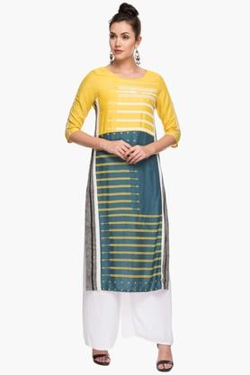 W Womens Round Neck Colour Block Kurta